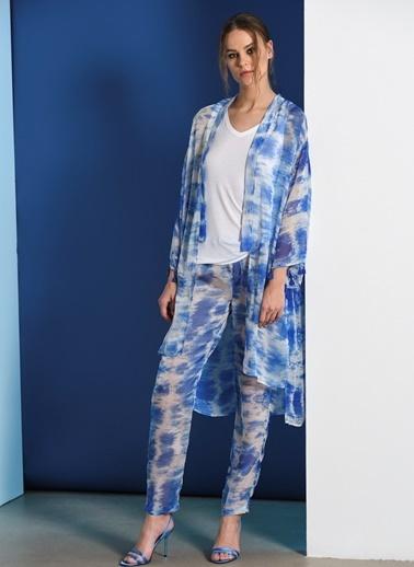 Zeynep Ökmen Özel Desenli İpek Şifon Beach Pantalonu Mavi